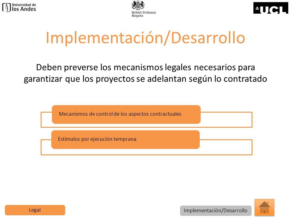 Implementación/Desarrollo Deben preverse los mecanismos legales necesarios para garantizar que los proyectos se adelantan según lo contratado Mecanism