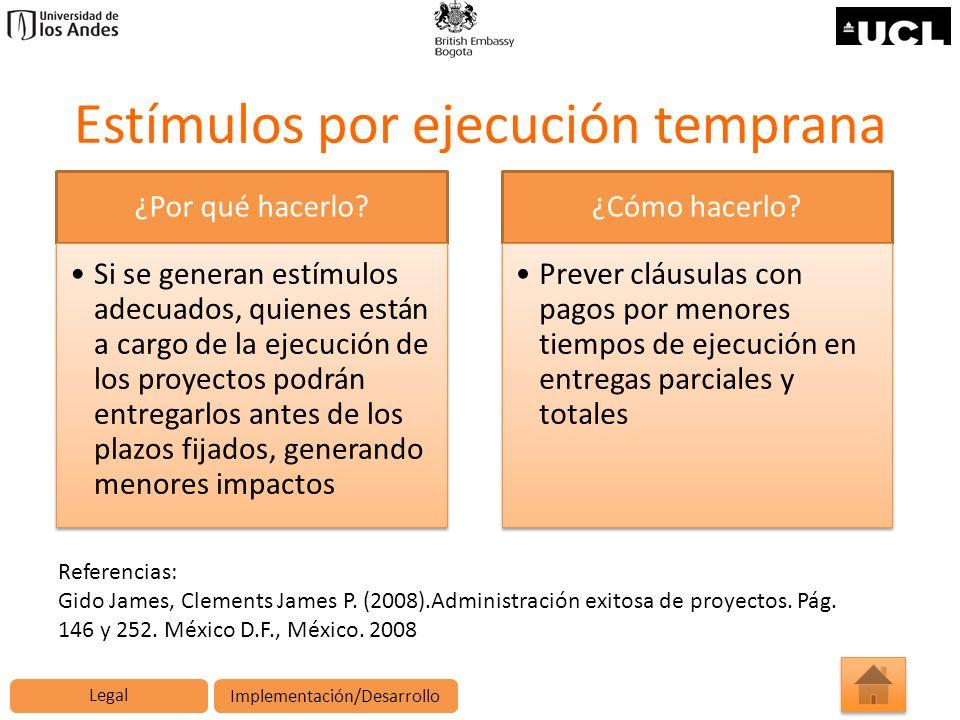Estímulos por ejecución temprana ¿Por qué hacerlo? Si se generan estímulos adecuados, quienes están a cargo de la ejecución de los proyectos podrán en