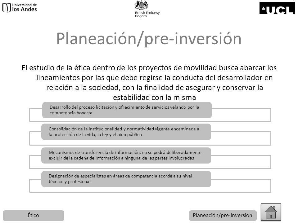 Planeación/pre-inversión El estudio de la ética dentro de los proyectos de movilidad busca abarcar los lineamientos por las que debe regirse la conduc