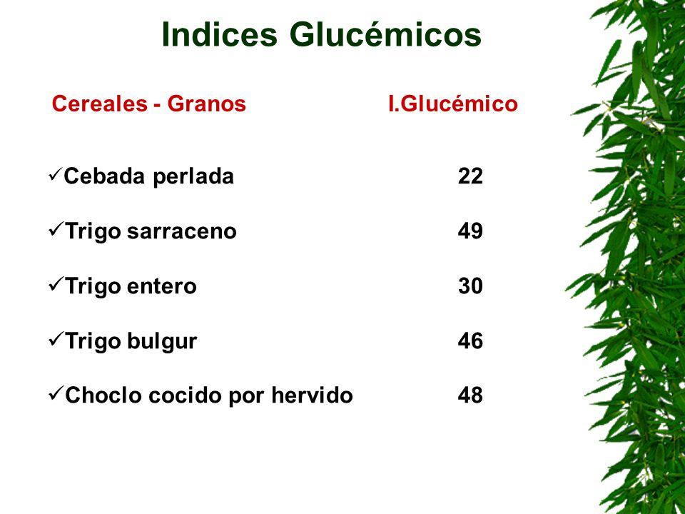 Cebada perlada22 Trigo sarraceno49 Trigo entero30 Trigo bulgur46 Choclo cocido por hervido48 Indices Glucémicos Cereales - GranosI.Glucémico