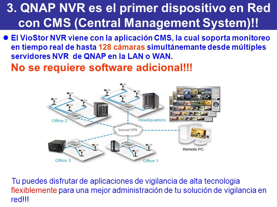 3. QNAP NVR es el primer dispositivo en Red con CMS (Central Management System)!.