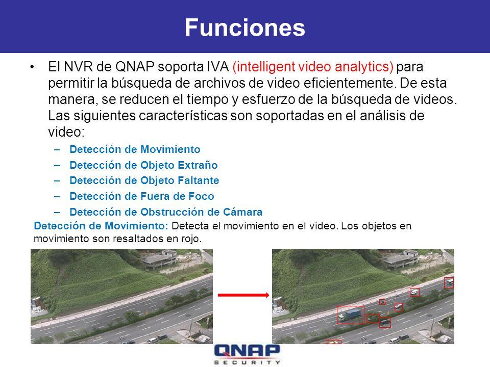 Funciones El NVR de QNAP soporta IVA (intelligent video analytics) para permitir la búsqueda de archivos de video eficientemente.