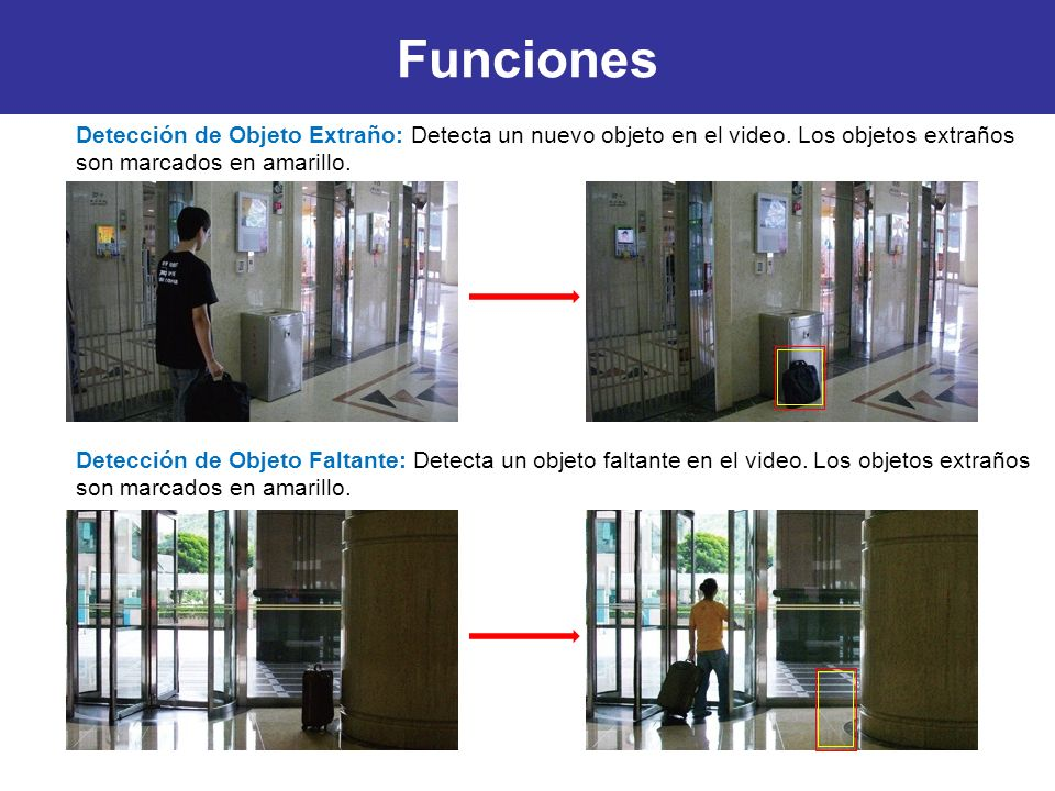Funciones Detección de Objeto Faltante: Detecta un objeto faltante en el video. Los objetos extraños son marcados en amarillo. Detección de Objeto Ext