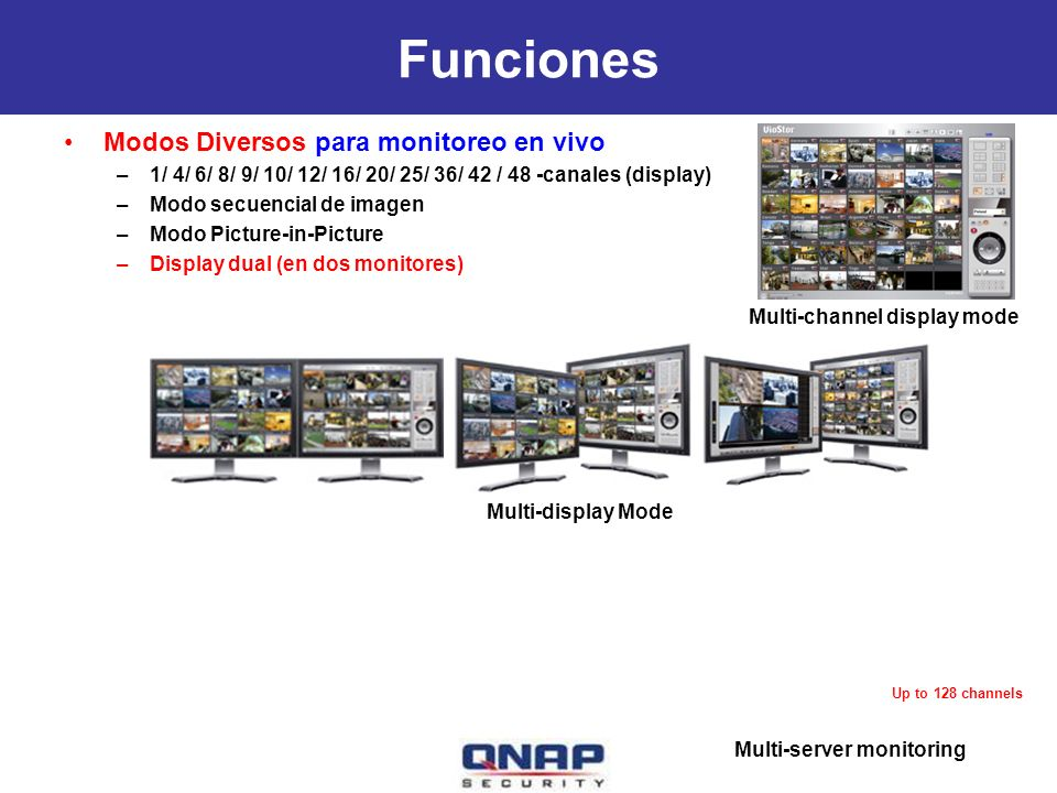 Multi-display Mode Funciones Modos Diversos para monitoreo en vivo –1/ 4/ 6/ 8/ 9/ 10/ 12/ 16/ 20/ 25/ 36/ 42 / 48 -canales (display) –Modo secuencial de imagen –Modo Picture-in-Picture –Display dual (en dos monitores) Multi-channel display mode Multi-server monitoring Up to 128 channels