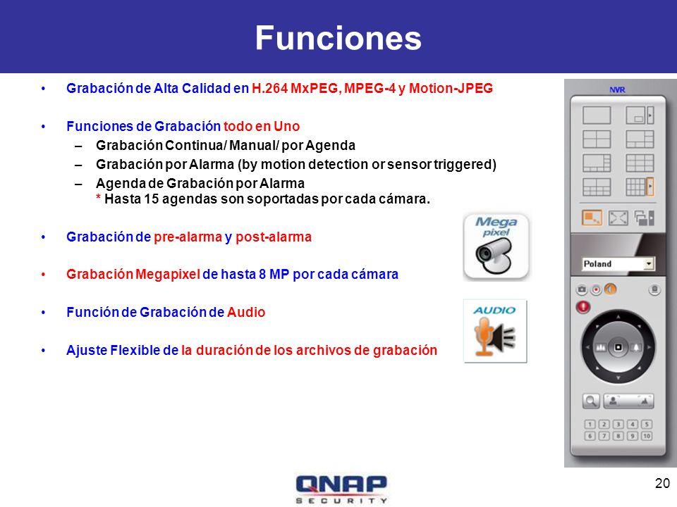 Funciones Grabación de Alta Calidad en H.264 MxPEG, MPEG-4 y Motion-JPEG Funciones de Grabación todo en Uno –Grabación Continua/ Manual/ por Agenda –G
