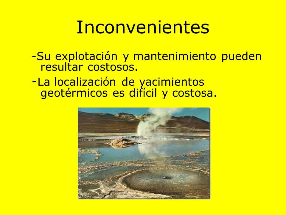 Ventajas -No produce residuos, y es inagotable a escala humana. -En algunos países resulta rentable usarla para producir energía eléctrica.