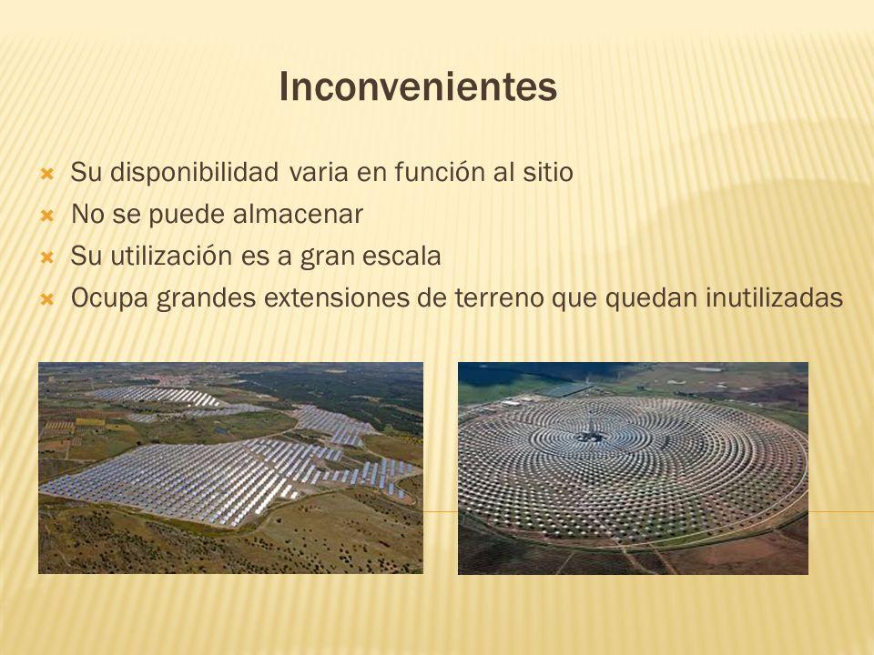 Ventajas Es una fuente inagotable a escala humana Es una energía limpia que no produce residuos Su mantenimiento es barato, y llega a muchas zonas Red