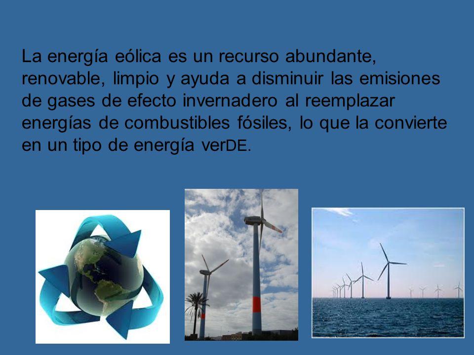 Energía eólica es la energía obtenida del viento, es decir, la energía cinética generada por efecto de las corrientes de aire, y que es transformada e