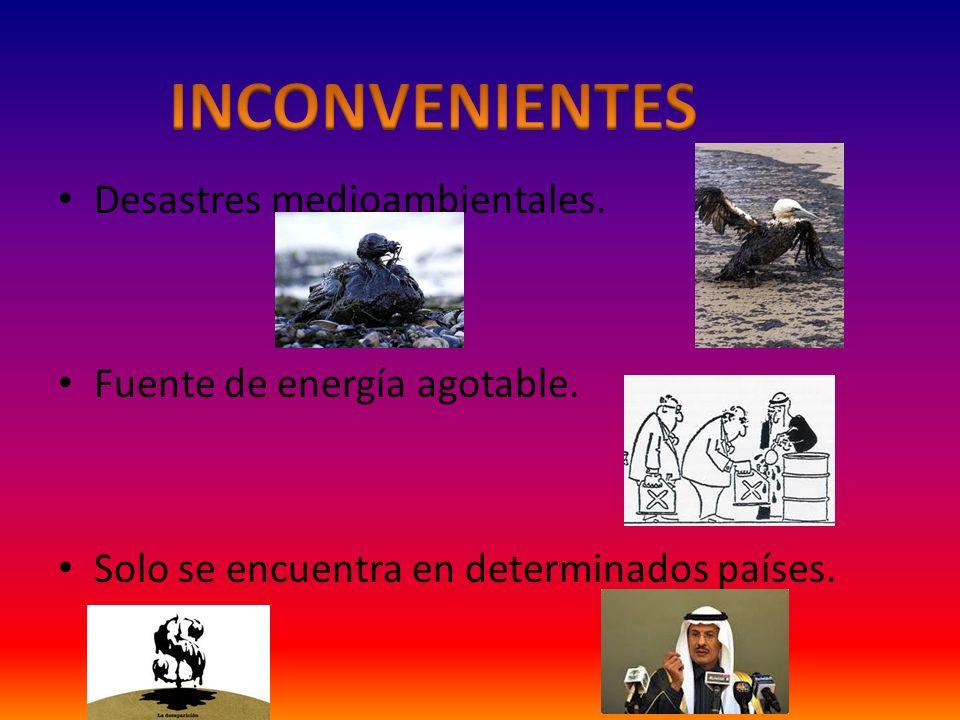 Desastres medioambientales. Fuente de energía agotable. Solo se encuentra en determinados países.