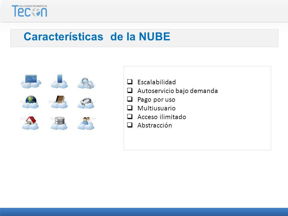 Características de la NUBE Escalabilidad Autoservicio bajo demanda Pago por uso Multiusuario Acceso ilimitado Abstracción