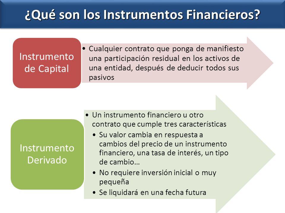 ¿Qué son los Instrumentos Financieros? Cualquier contrato que ponga de manifiesto una participación residual en los activos de una entidad, después de
