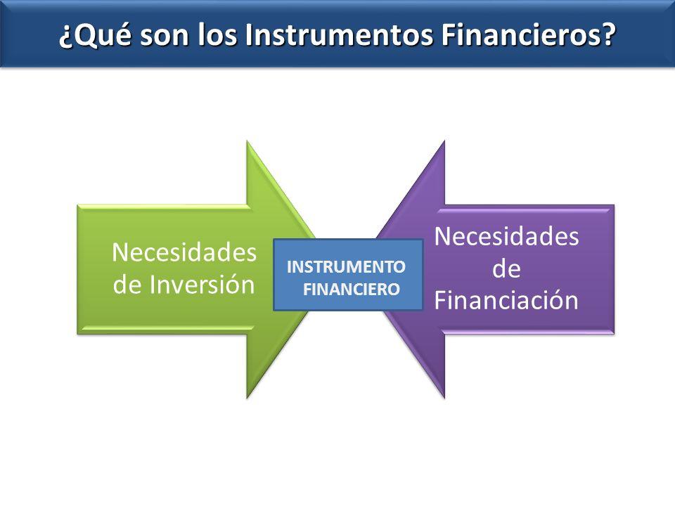Necesidades de Inversión Necesidades de Financiación ¿Qué son los Instrumentos Financieros? INSTRUMENTO FINANCIERO
