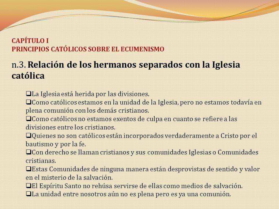 CAPÍTULO I PRINCIPIOS CATÓLICOS SOBRE EL ECUMENISMO n.3. Relación de los hermanos separados con la Iglesia católica La Iglesia está herida por las div