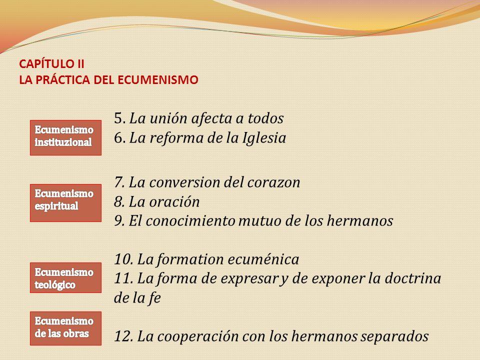CAPÍTULO II LA PRÁCTICA DEL ECUMENISMO 5. La unión afecta a todos 6. La reforma de la Iglesia 7. La conversion del corazon 8. La oración 9. El conocim