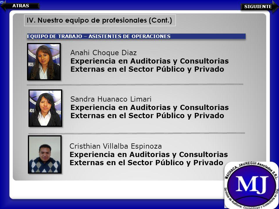 IV. Nuestro equipo de profesionales (Cont.) EQUIPO DE TRABAJO – ASISTENTES DE OPERACIONES Anahi Choque Diaz Experiencia en Auditorias y Consultorias E