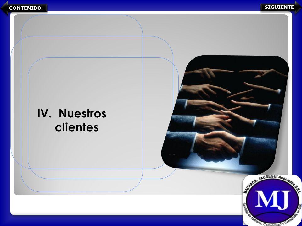 IV. Nuestros clientes CONTENIDO SIGUIENTE