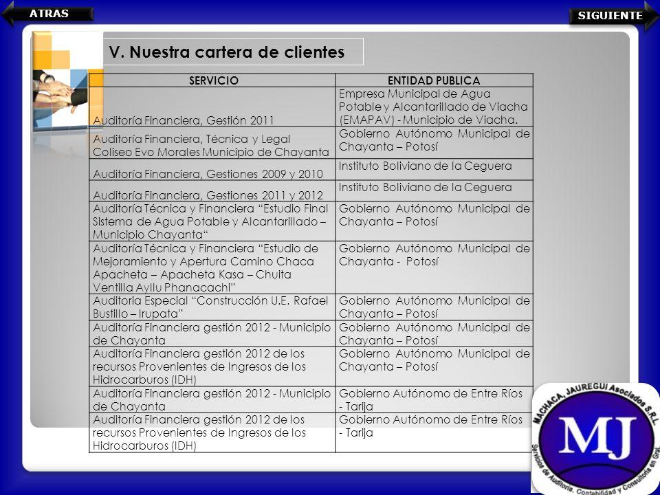 V. Nuestra cartera de clientes SERVICIOENTIDAD PUBLICA Auditoría Financiera, Gestión 2011 Empresa Municipal de Agua Potable y Alcantarillado de Viacha