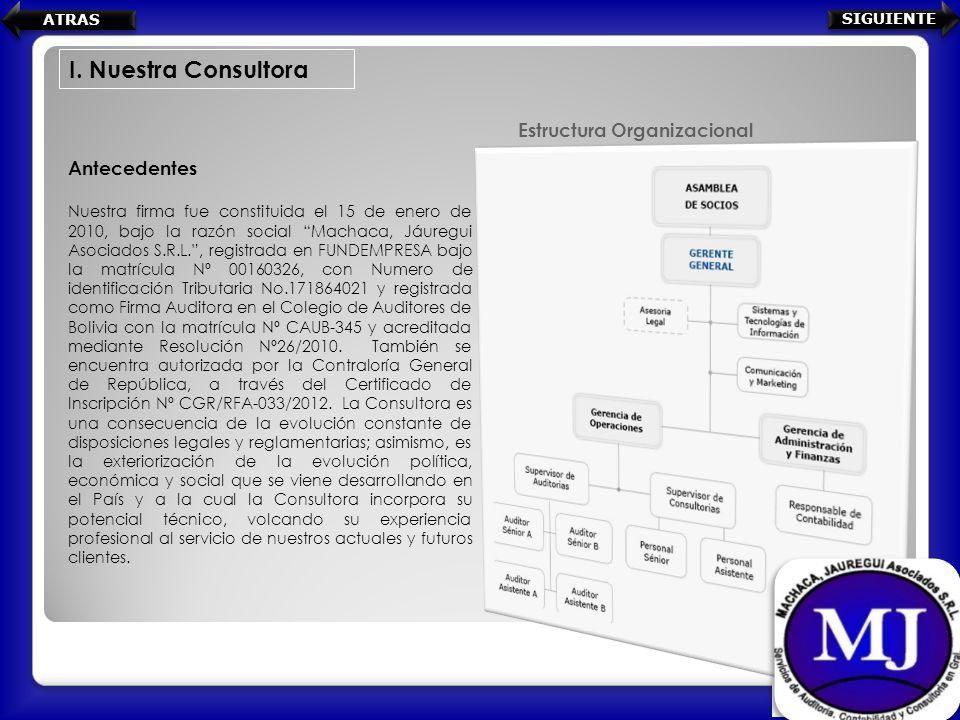 Antecedentes Nuestra firma fue constituida el 15 de enero de 2010, bajo la razón social Machaca, Jáuregui Asociados S.R.L., registrada en FUNDEMPRESA