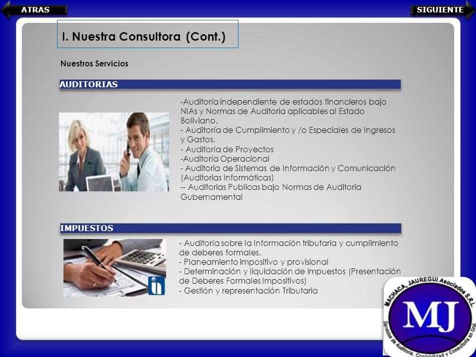 Nuestros Servicios I. Nuestra Consultora (Cont.) -Auditoría independiente de estados financieros bajo NIAs y Normas de Auditoria aplicables al Estado