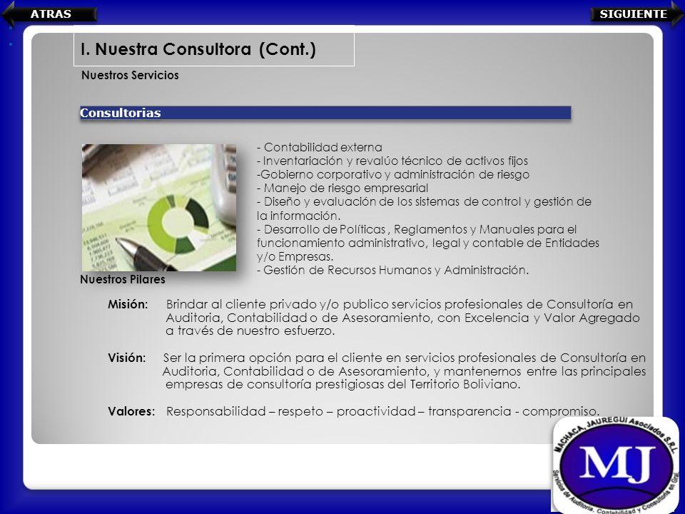 Nuestros Servicios I. Nuestra Consultora (Cont.) Consultorias - Contabilidad externa - Inventariación y revalúo técnico de activos fijos -Gobierno cor