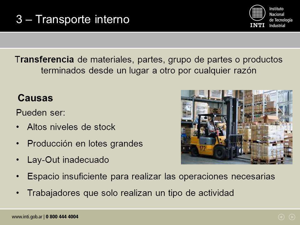 3 – Transporte interno Pueden ser: Altos niveles de stock Producción en lotes grandes Lay-Out inadecuado Espacio insuficiente para realizar las operac