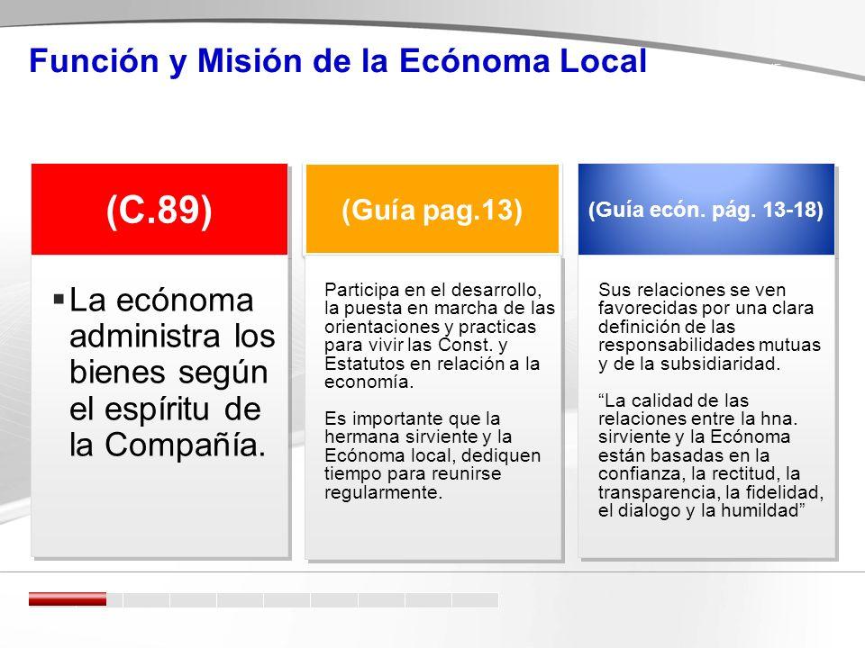 Función y Misión de la Ecónoma Local (C.89) (Guía pag.13) (Guía ecón.