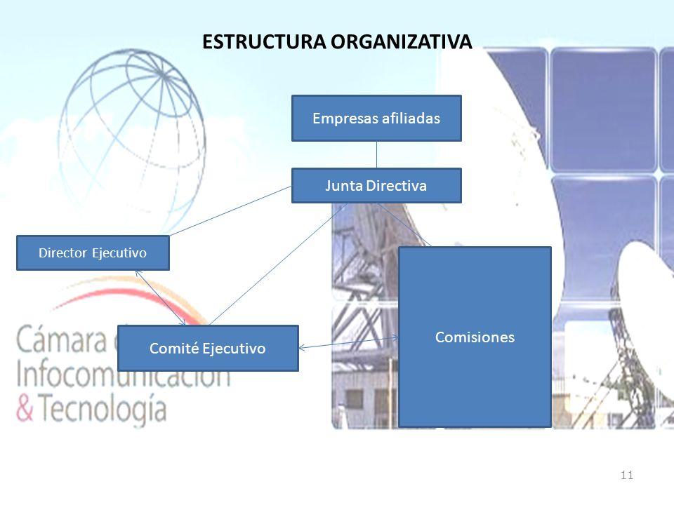 ESTRUCTURA ORGANIZATIVA 11 Empresas afiliadas Junta Directiva Director Ejecutivo Comité Ejecutivo Comisiones