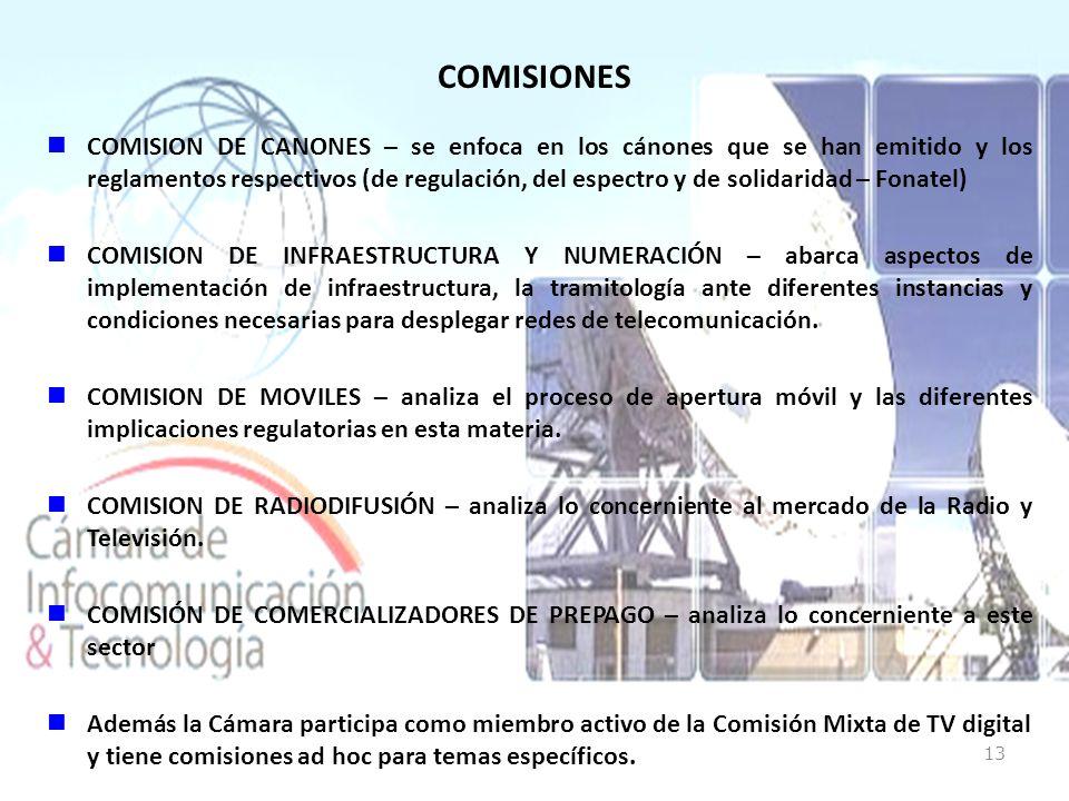COMISIONES COMISION DE CANONES – se enfoca en los cánones que se han emitido y los reglamentos respectivos (de regulación, del espectro y de solidaridad – Fonatel) COMISION DE INFRAESTRUCTURA Y NUMERACIÓN – abarca aspectos de implementación de infraestructura, la tramitología ante diferentes instancias y condiciones necesarias para desplegar redes de telecomunicación.