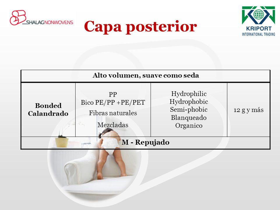 Capa posterior Alto volumen, suave como seda 12 g y más Hydrophilic Hydrophobic Semi-phobic Blanqueado Organico PP Bico PE/PP +PE/PET Fibras naturales