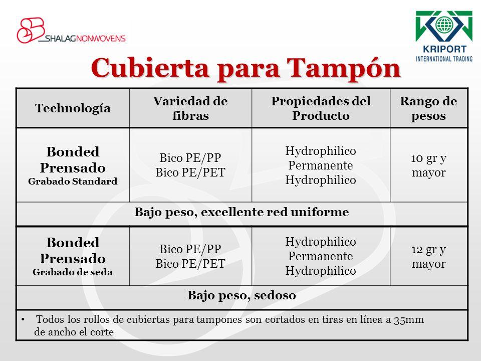 Cubierta para Tampón Rango de pesos Propiedades del Producto Variedad de fibras Technología 10 gr y mayor Hydrophilico Permanente Hydrophilico Bico PE