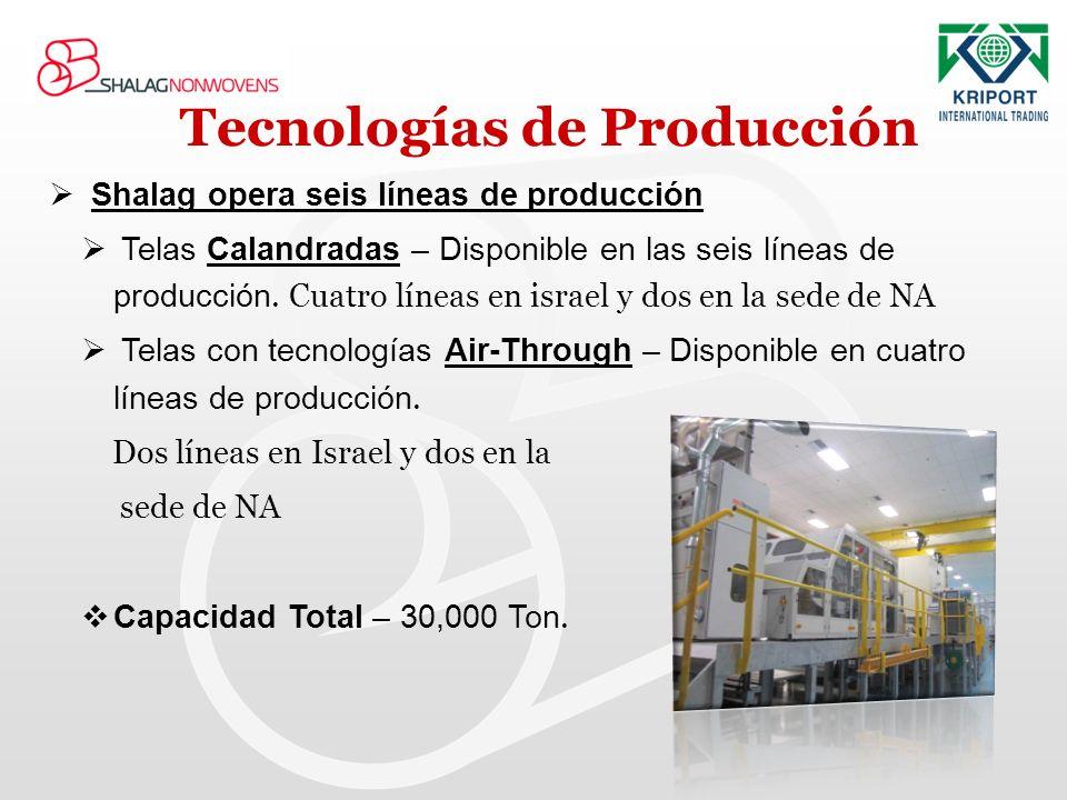 Tecnologías de Producción Shalag opera seis líneas de producción Telas Calandradas – Disponible en las seis líneas de producción. Cuatro líneas en isr