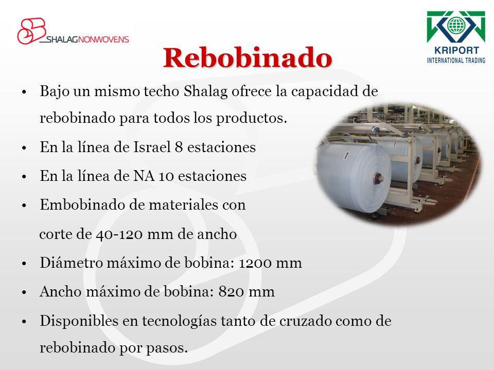 Rebobinado Bajo un mismo techo Shalag ofrece la capacidad de rebobinado para todos los productos. En la línea de Israel 8 estaciones En la línea de NA