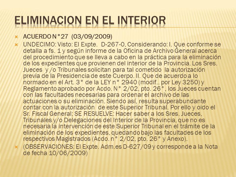 ACUERDO N°27 (03/09/2009) UNDECIMO: Visto: El Expte. D-267-0, Considerando: I. Que conforme se detalla a fs. 1 y según informe de la Oficina de Archiv