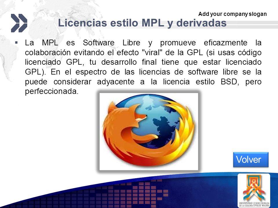 Add your company slogan LOGO Licencias estilo MPL y derivadas La MPL es Software Libre y promueve eficazmente la colaboración evitando el efecto