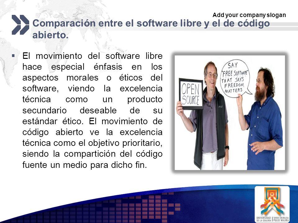 Add your company slogan LOGO Comparación entre el software libre y el de código abierto. El movimiento del software libre hace especial énfasis en los