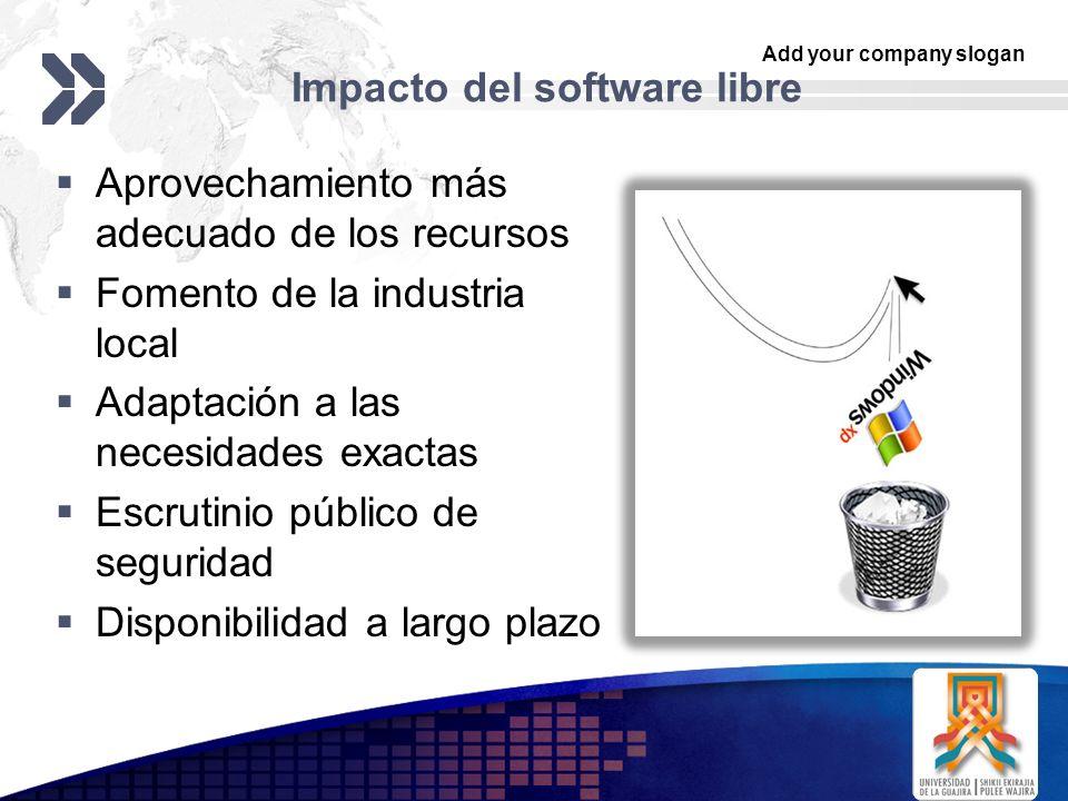 Add your company slogan LOGO Impacto del software libre Aprovechamiento más adecuado de los recursos Fomento de la industria local Adaptación a las necesidades exactas Escrutinio público de seguridad Disponibilidad a largo plazo