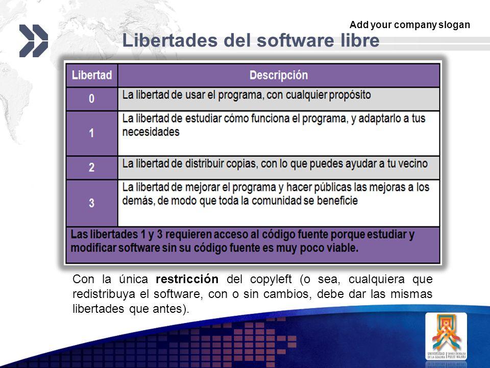 Add your company slogan LOGO Libertades del software libre Con la única restricción del copyleft (o sea, cualquiera que redistribuya el software, con o sin cambios, debe dar las mismas libertades que antes).