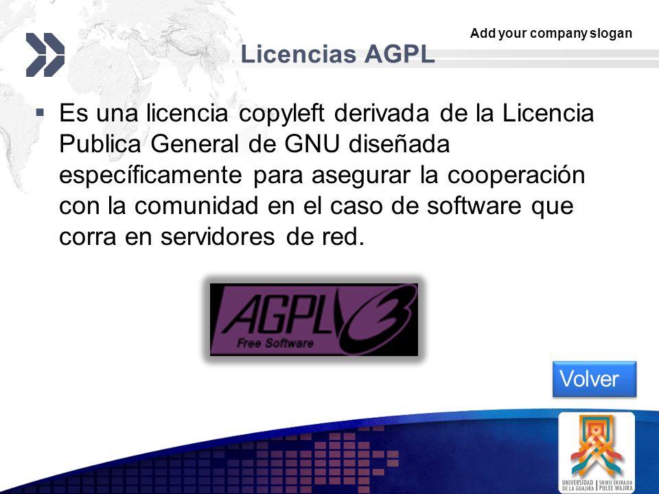 Add your company slogan LOGO Licencias AGPL Es una licencia copyleft derivada de la Licencia Publica General de GNU diseñada específicamente para aseg