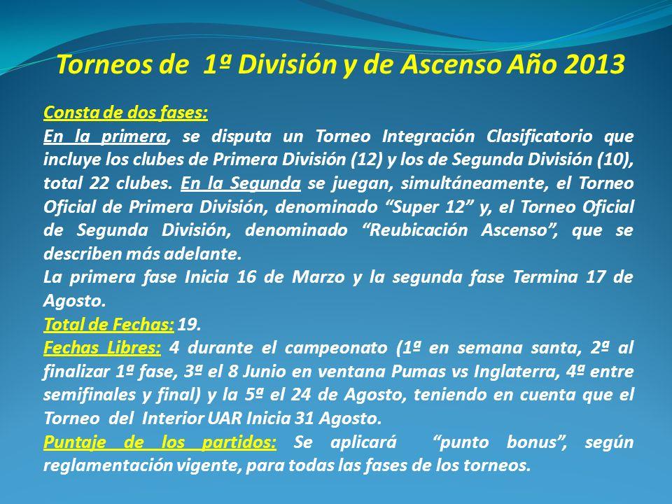 Torneos de 1ª División y de Ascenso Año 2013 Consta de dos fases: En la primera, se disputa un Torneo Integración Clasificatorio que incluye los clubes de Primera División (12) y los de Segunda División (10), total 22 clubes.