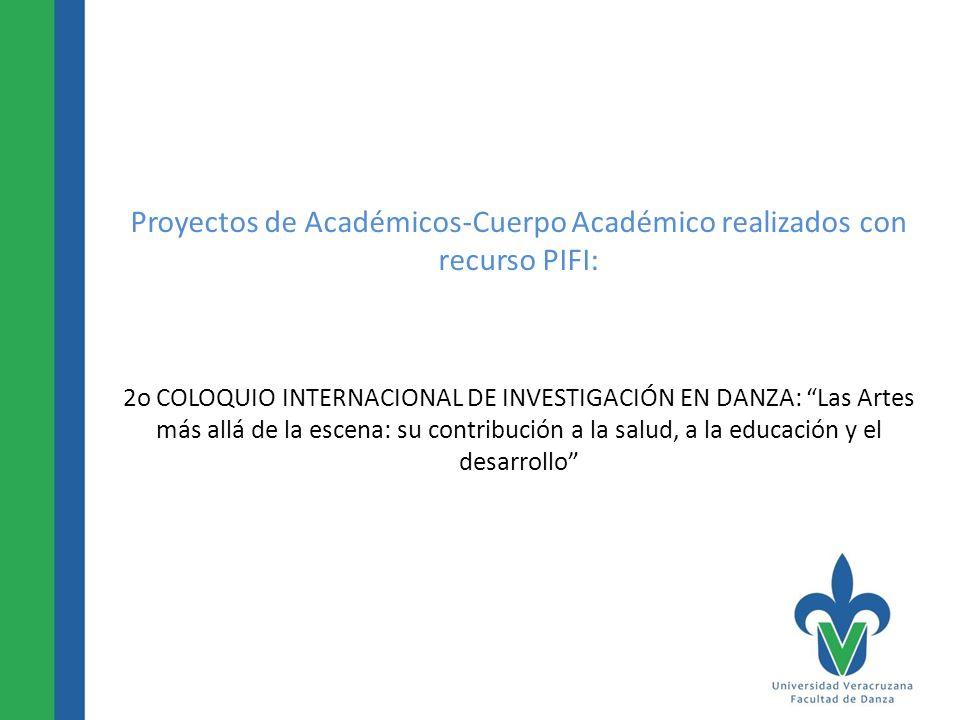 Proyectos de Académicos-Cuerpo Académico realizados con recurso PIFI: 2o COLOQUIO INTERNACIONAL DE INVESTIGACIÓN EN DANZA: Las Artes más allá de la es