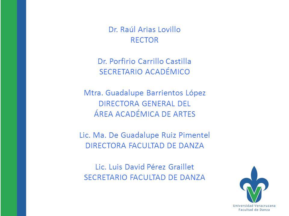Dr. Raúl Arias Lovillo RECTOR Dr. Porfirio Carrillo Castilla SECRETARIO ACADÉMICO Mtra. Guadalupe Barrientos López DIRECTORA GENERAL DEL ÁREA ACADÉMIC