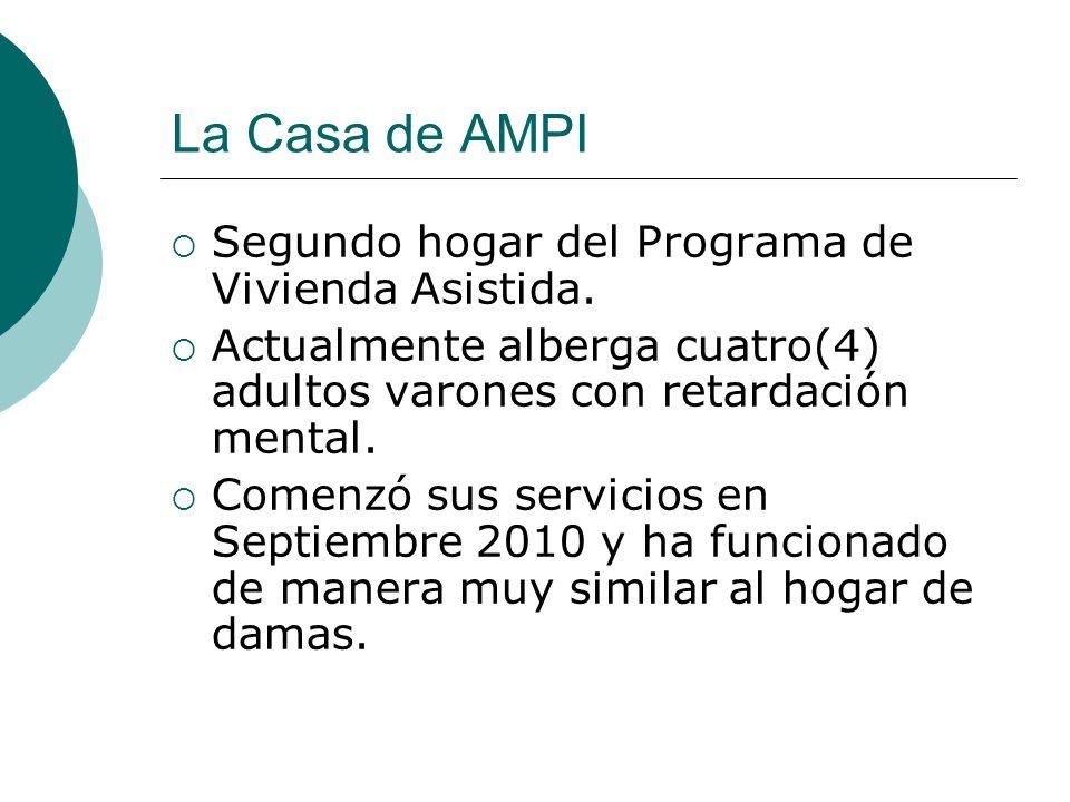 La Casa de AMPI Segundo hogar del Programa de Vivienda Asistida. Actualmente alberga cuatro(4) adultos varones con retardación mental. Comenzó sus ser
