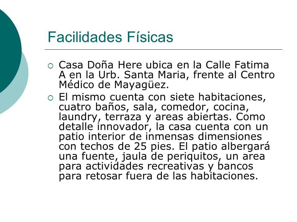 Facilidades Físicas Casa Doña Here ubica en la Calle Fatima A en la Urb. Santa Maria, frente al Centro Médico de Mayagüez. El mismo cuenta con siete h