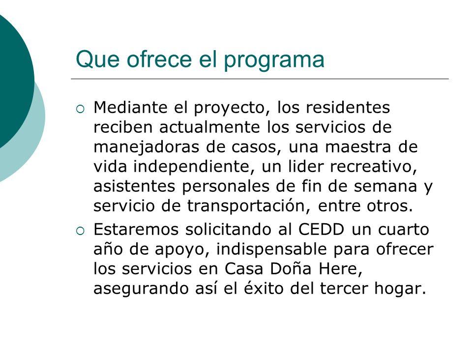 Que ofrece el programa Mediante el proyecto, los residentes reciben actualmente los servicios de manejadoras de casos, una maestra de vida independien