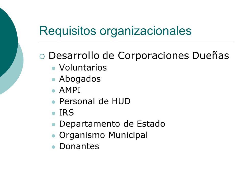 Requisitos organizacionales Desarrollo de Corporaciones Dueñas Voluntarios Abogados AMPI Personal de HUD IRS Departamento de Estado Organismo Municipa