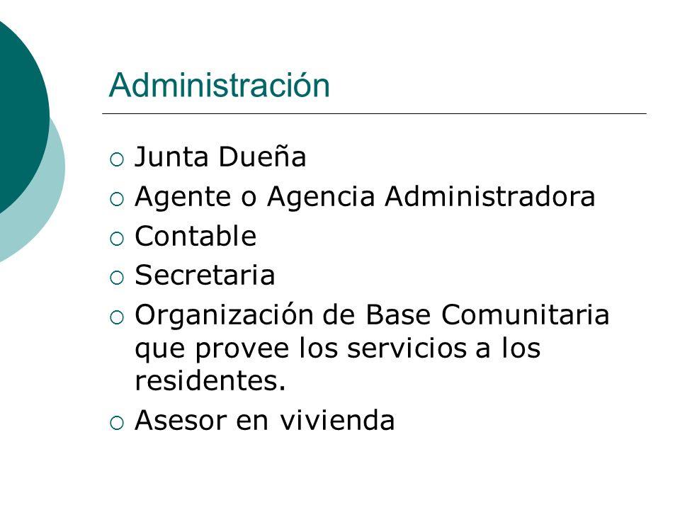Administración Junta Dueña Agente o Agencia Administradora Contable Secretaria Organización de Base Comunitaria que provee los servicios a los residen