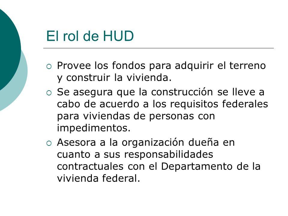El rol de HUD Provee los fondos para adquirir el terreno y construir la vivienda. Se asegura que la construcción se lleve a cabo de acuerdo a los requ