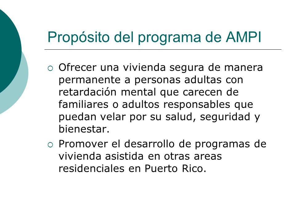 Propósito del programa de AMPI Ofrecer una vivienda segura de manera permanente a personas adultas con retardación mental que carecen de familiares o