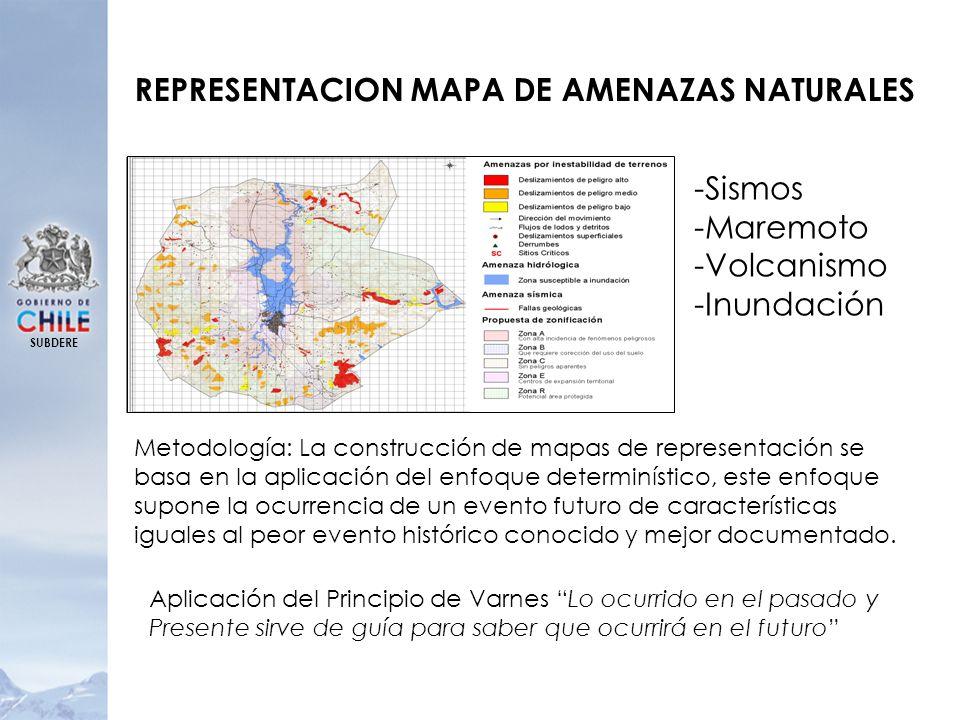 SUBDERE REPRESENTACION MAPA DE AMENAZAS NATURALES -Sismos -Maremoto -Volcanismo -Inundación Metodología: La construcción de mapas de representación se