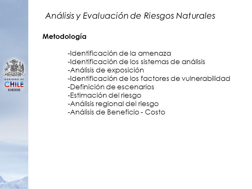 SUBDERE Análisis y Evaluación de Riesgos Naturales Metodología -Identificación de la amenaza -Identificación de los sistemas de análisis -Análisis de